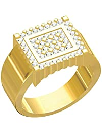 Spangel Fashion Designer 18 Ct. Gold Plated American Diamond Jewellery Ring For Men - B0785657Q3
