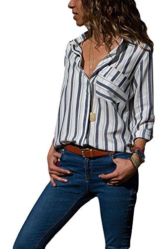 Dokotoo Damen Bluse Elegant Chiffon V-Ausschnitt Langarm Casual Oberteil Lose Langarmshirt Vintage Tunika Hemd T-Shirt S-XXL, Schwarz, XX-Large (EU52-EU54)