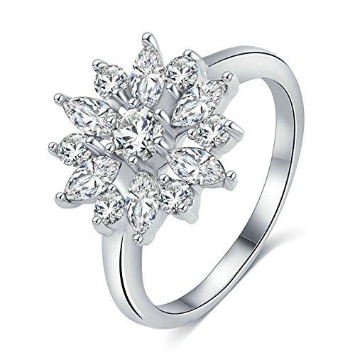 Epinki Damen Heiratsantrag Ring Trauringe Solitärring Cubic Zirkonia Blumen Silber Beads Rose Gold Gr.57 (Zelda Kostüme Ideen)