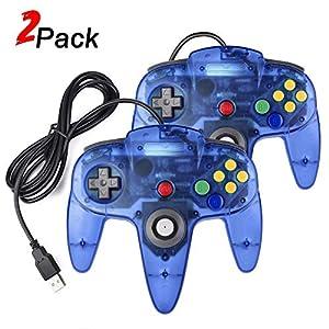 suily 2 Pack USB Controller für N64 Spiele Videospiel USB Gamepad Joystick für PC Windows MAC Linux Raspberry Pi 3 (Klares Blau)