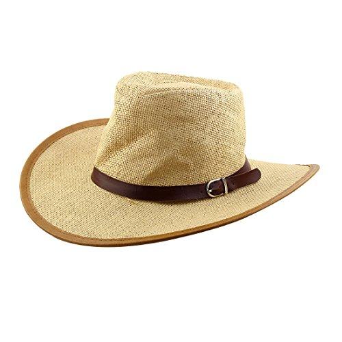troh Flecht Kunstleder Band Dekor Western Sonnenhut Cowboyhut dunkel Beige (Outdoor-westliches Dekor)