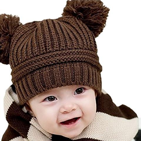 Gorros Bebé,Xinan Niño Niña Invierno Sombrero Gorra De Punto Doble Bolas (Marrón)
