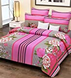#9: Home Candy 144 TC 100% Cotton Pink Stripes and Flowers Double Bed Sheet with 2 Pillow Covers