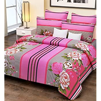 Home Candy 100% Cotton Pink Stripes and Flowers Double Bed Sheet with 2 Pillow Covers