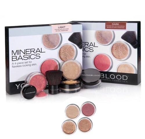 Youngblood, Purely Basics, Set di trucchi minerali, incl. 2 fondotinta, 1 fard, 1 polvere di riso, 1 pennello kabuki mini, 1 cipria, Medium