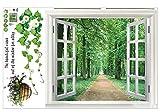 SODIAL (R) Adesivo parete finestra grande 3D paesaggio verde fiore pianta arte murale