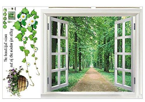 SODIAL (R) Riesige Fenster 3D-Blick ins Gruene Blumen Pflanzen Wandsticker Kunst-Wandtattoo Tapete