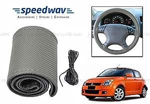 Speedwav Leatherette Car Steering Wheel Cover Grey M-Maruti Swift Old