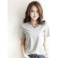 TAIDUJUEDINGYIQIE Camiseta de manga corta para mujer Color sólido Moda fina Manga corta, Gris, XXXL