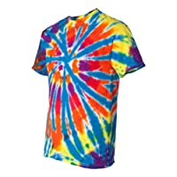 Tie-Dyed Rainbow Cut-Spiral Short Sleeve T-Shirt (Assorted Colors) - - XXL