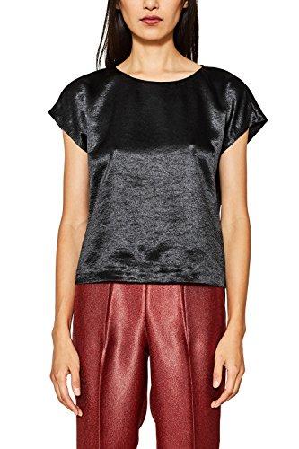 ESPRIT Collection Damen Bluse 117EO1F025, Schwarz (Black 001), Medium (3/4-Ärmel-bluse Aus Seide)