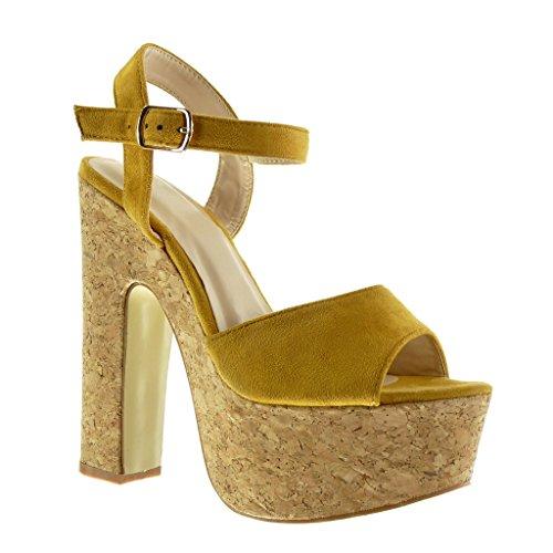 Angkorly Damen Schuhe Sandalen - Knöchelriemen - Plateauschuhe - Kork Blockabsatz High Heel 15 cm - Gelb F-175 T 40 (Kork Heels)