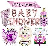 """ZOEON Baby Dusche Dekoration, Baby Shower Luftballons It's a Boy/Girl Folienballons mit Mum to Be"""" Schärpe für Kinderpartyzubehör (MÄDCHEN)"""