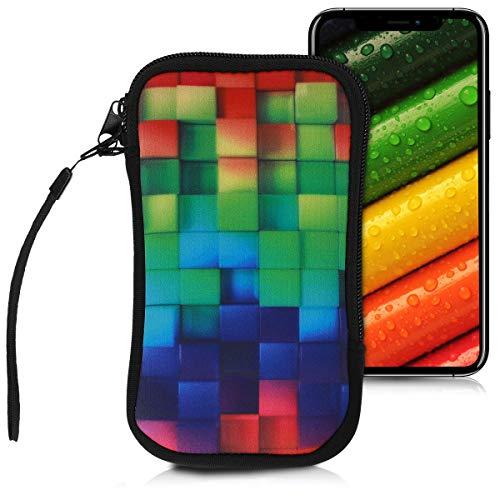 """kwmobile Handytasche für Smartphones L - 6,5"""" - Neopren Handy Tasche Hülle Cover Case Schutzhülle - Regenbogen Würfel Design Mehrfarbig Grün Blau - 16,2 x 8,3 cm Innenmaße"""