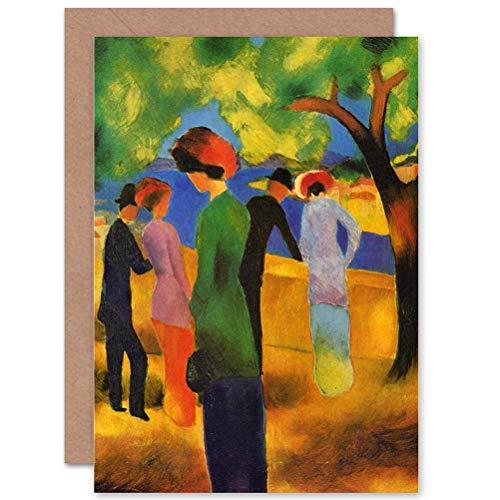 Wee Blue Coo LTD Card Greeting Painting Macke Lady Green Jacket Detail Gift Karte Blue Jackets