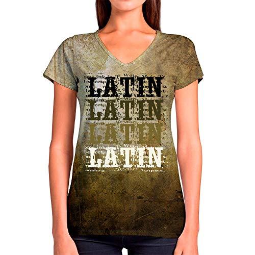 96227a23 Idakoos Latin Retro Vintage 3D - Camiseta con Cuello En V Mujer De  Poliéster M