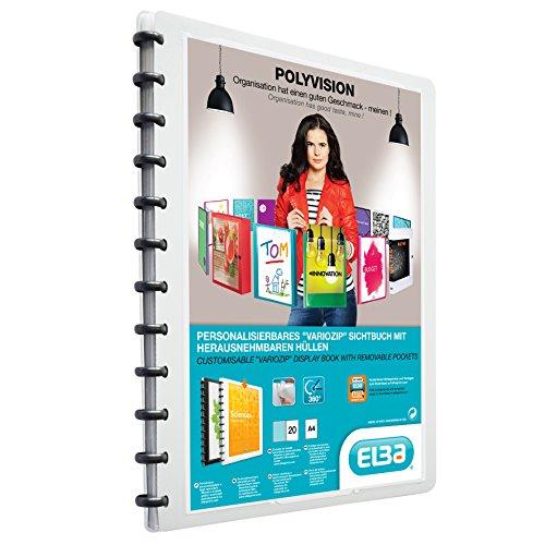 stoff-Ringmappe polyvision DIN A4 mit vario-zipp-Prinzip 20 transparente Hüllen weiß Sichthüllen-Mappe Ringbuch Ringordner ()