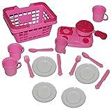Unbekannt 18 tlg. Set Picknick Korb - rosa Kunststoff - Puppengeschirr Geschirr + Tassen + Pfanne / Kochset - Spiel - Küche Zubehör Deko pink - Kinderküche