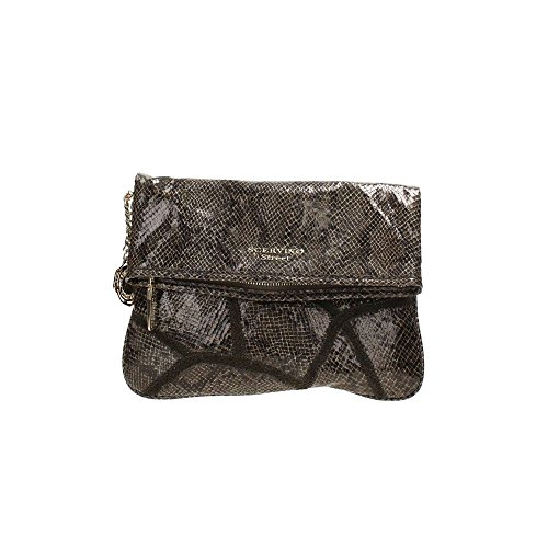 Borsa pochette Scervino Street Cod. SCBPU0000014 Amaranthe marrone pitonata bag brown borsetta donna outlet borse a mano hand bag brown made in italy