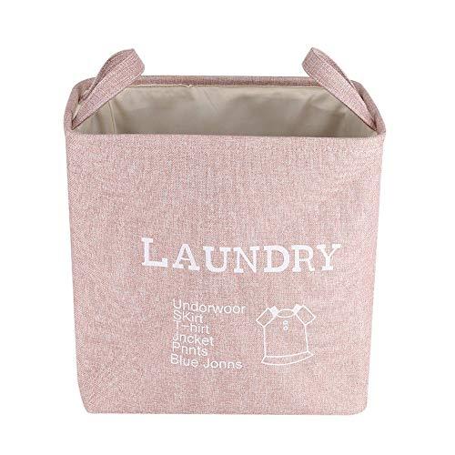 Aufbewahrungskorb Stoff Wäschekorb, Faltbare große Kapazität nach Hause schmutzige Kleidung Handtuch Wäsche Waschen sammeln Lagerplatz Korb Gadget Spielzeug Box Container Organizer Tasche (Pink)