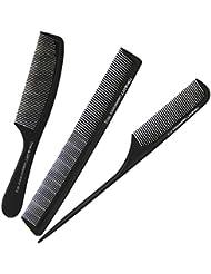 Salon Peigne Coiffure 3 en 1 Lot Peigne en fibre de Carbone avec Queue en forme de pointe Antistatique et Tropicalisé