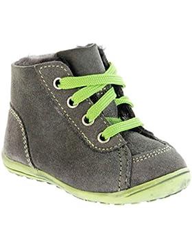 Richter Kinder Minis grau Velour Warm Lammfell Schnürer Jungen-Schuhe 0025-832-6610 pebble Mini, Farbe:grau;Größe:19