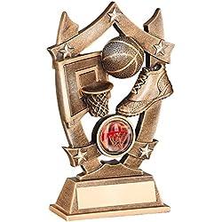 """Neta–TROFEO Baloncesto, pelota y zapatillas en color oro–diseño de escudo de bronce y resina, , 5,5""""/14 cm"""