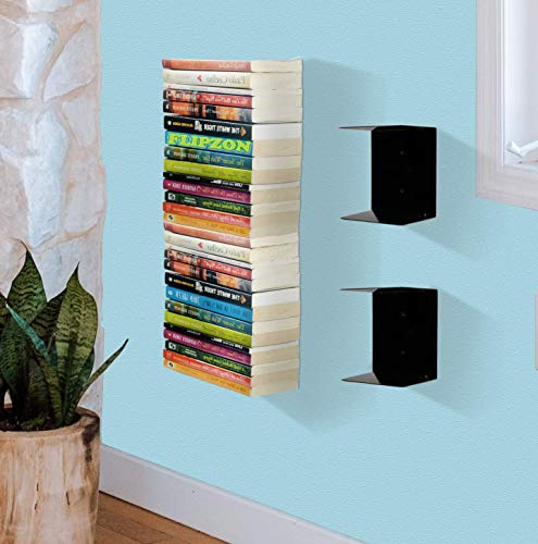 Flipzon Book Shelf Metal Wall Mounted Heavy Duty Invisible Book Shelves for bedrooms, Living Room, Office, Study Room Home Decorations (Pack of 2)
