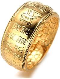 Halukakah Or BÉNISSE Tous Le Bague de l'homme en 18K Or Véritable Doré Kanji Rich + Chance + Fortune Taille Réglable Le Boîte-Cadeau Gratuit
