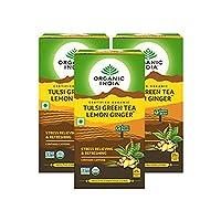 Organic India Tulsi Green Tea Lemon Ginger 25 Tea Bags- (Pack of 3)