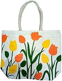 Pooja Bags Jute Shopping Bag Orange Gulab Printed Set Of 2 PCs (Green, Size: 12*12*6 Inches)