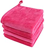 Toallita desmaquillantes reutilizable Toalla de microfibra para limpieza facial Paños de microfibra 25 x 25 cm Rosa 4 unidad