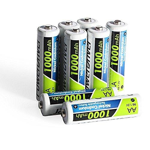 PowerDriver 1000mAh AA NiCD Ni-CD Batteria Ricaricabile per macchine fotografiche digitali, telecomandi (Confezione da 8 Pezzi)