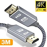 Snowkids 3m HDMI Kabel 4k HDMI 2.0 a/b Highspeed mit Ethernet,HDMI-Kabel 2.0/1.4a 60Hz,Ultra HD 4k 2160p,Full HD1080p,3D,ARC,HDCP 2.2,HDR,PS4/3,Xbox,PC,HDTV-Grau