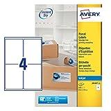 Avery Quick DRY J8169, 100 etichette per indirizzi (25 fogli per 4), colore: Bianco