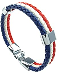 Pulsera tejida - SODIAL(R) pulsera de joyeria, brazalete de bandera francesa, de aleacion de cuero, para hombres mujeres, blanco rojo azul, (anchura 14 mm, longitud 20 cm)