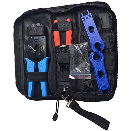 Ichy Solar MC4 Crimpwerkzeug-Kit für Solarpanel-PV-Kabel, 1 Paar Solar-MC4-Steckverbinder, Abisolierzange, Schraubenschlüssel, Crimpzange, Werkzeugtaschen-Montageschlüssel-Tool-Kit