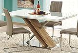 CARELLIA Tisch Hat Essen rechteckig–L: 160cm x P: 90cm x h: 76cm–Farbe: weiß/Eiche hell