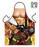 Delantal de Cocina Antimanchas para Hombre, Modelo Bombero Sexy, Medidas 75 x 58 cm
