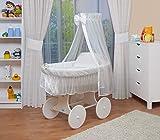 WALDIN Baby Stubenwagen-Set mit Ausstattung,XXL,Bollerwagen,komplett,6 Modelle wählbar,Gestell/Räder weiß lackiert,Stoffe weiß/weiß