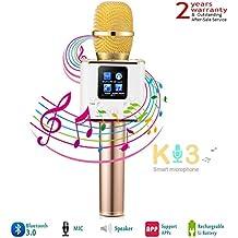 KTV Karaoke Player Mikrofon, YFeel Smart Wireless Tragbar Microphone Lautsprecher Bluetooth für Aufnahme, Gesang, Sprache KTV Karaoke Player Kompatibel mit PC/iPad/iPod/iPhone/Android Smartphone, Gold