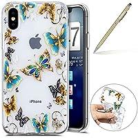 Herbests Handy Tasche für iPhone XS Silikon Hülle Durchsichtige Schutzhülle Crystal Clear Transparent Ultra Dünn Handyhülle Silikonhülle Kristall Klar TPU Bumper,Blau Schmetterling
