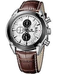 MEGIR - Reloj de pulsera para hombre, con correa de piel, cronógrafo, cuarzo, diseño casual, color marrón