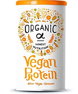 Organic Alpha - Vegan Protein with Protein from Rice, Hemp, Chia Seeds, Sunflower Seeds, Pumpkin Seeds, Soy and Peas + Coconut Milk, Superfoods and Enzymes - 600 Grams (Vanilla)