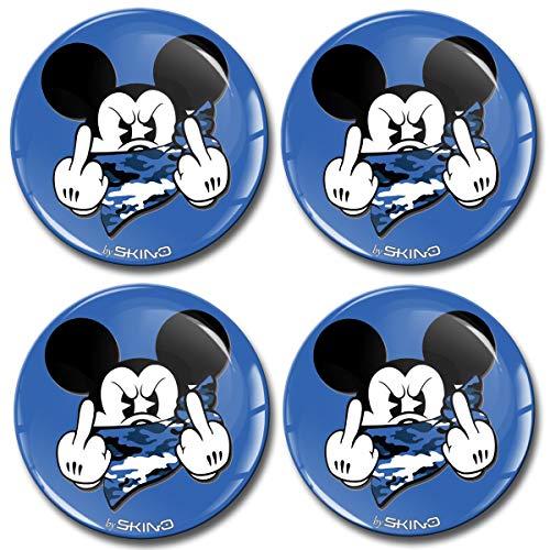 Skino 4 x 68mm Aufkleber 3D Gel Silikon Autoaufkleber Stickers Micky Maus Mittelfinger Mickey Mouse Felgenaufkleber Für Radkappen Nabenkappen Radnabendeckel Rad-Aufkleber Nabendeckel Auto Tuning A 3768