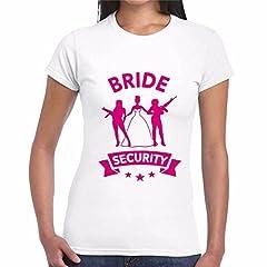 Idea Regalo - CHEMAGLIETTE! T-Shirt Divertente Donna Maglietta con Stampa Addio al Nubilato Bride Security, Colore: Bianco, Taglia: S