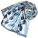 Lorenzo Cana Luxus Seidentuch aufwändig bedruckt Tuch 100% Seide 90 cm x 90 cm harmonische blau Farben Damentuch Schaltuch 8903288