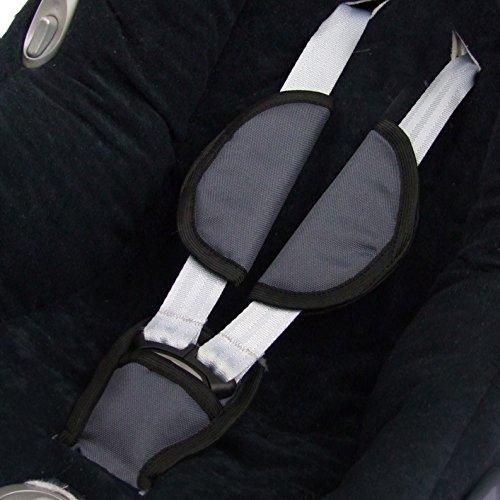 BAMBINIWELT 3tlg. SET Gurtpolster + Schrittpolster für Maxi-Cosi Babyschalen Gruppe 0 - DUNKELGRAU -