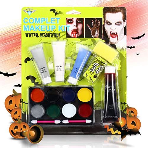 Halloween Schminke Make up Kit, Luckyfine Hexe Zombie Gesichtsfarbe Kit mit Latex, Falsches Blut, Pinsel, Schwämme, Erwachsene und Kinder Bodypainting, für Halloween/Karneval/Cosplay