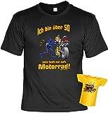 Geburtstags-Fun-Shirt-Set inkl. Mini-Shirt/Flaschendeko: Ich bin über 50 bitte helft mir aufs Motorrad!